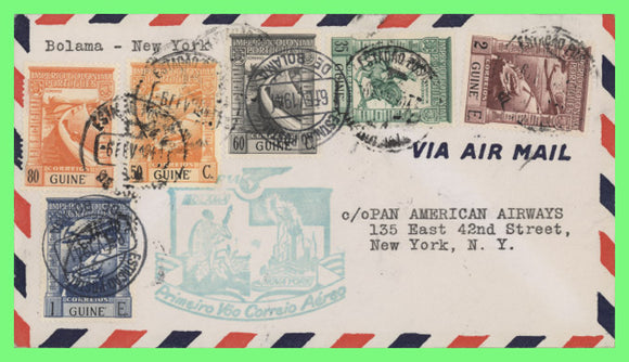 Portuguese Guinee 1941 First Flight cover, Boloma to Trinidad with cachet