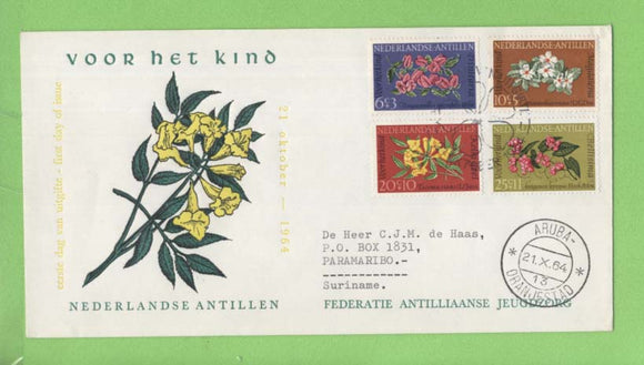 Netherlands Antilles 1964 Child Welfare, Flowers set First Day Cover