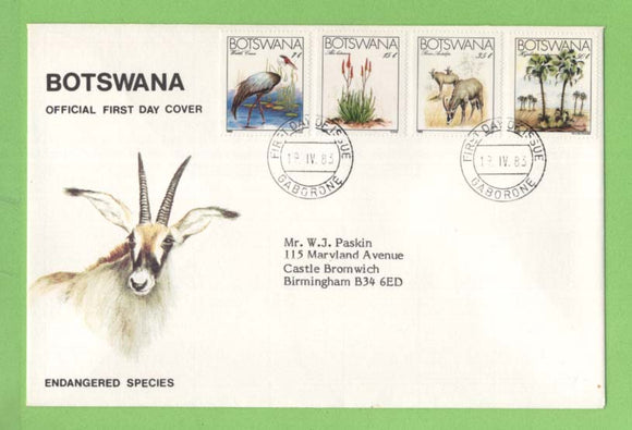 Botswana 1983 Endangered species set on First Day Cover