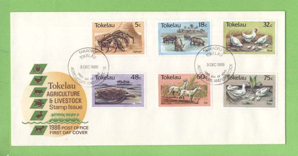 Tokelau 1986 Agricultural Livestock set on First Day Cover