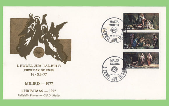 Malta 1977 Christmas set on First Day Cover, Valletta