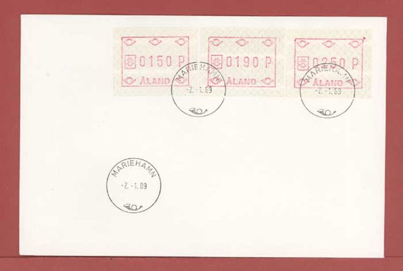 Aland 1989 Post Office Machine Label stamps on First Day Cover