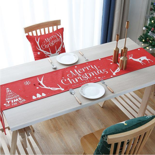 Christmas Table Runner Red Table Setting