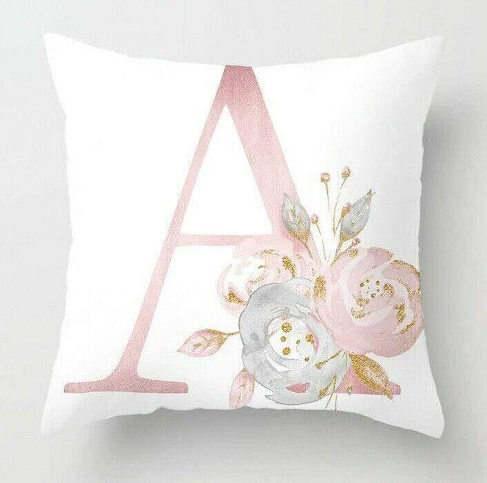 White Pink Letter Floral Decorative Cushion Cover Pillowcase Soft Suede Touch - EasyChic Home