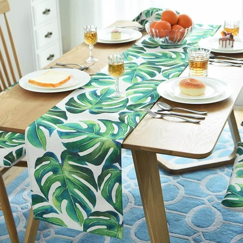 Monstera Leaf Table Runner, Placemat & Cushion Cover