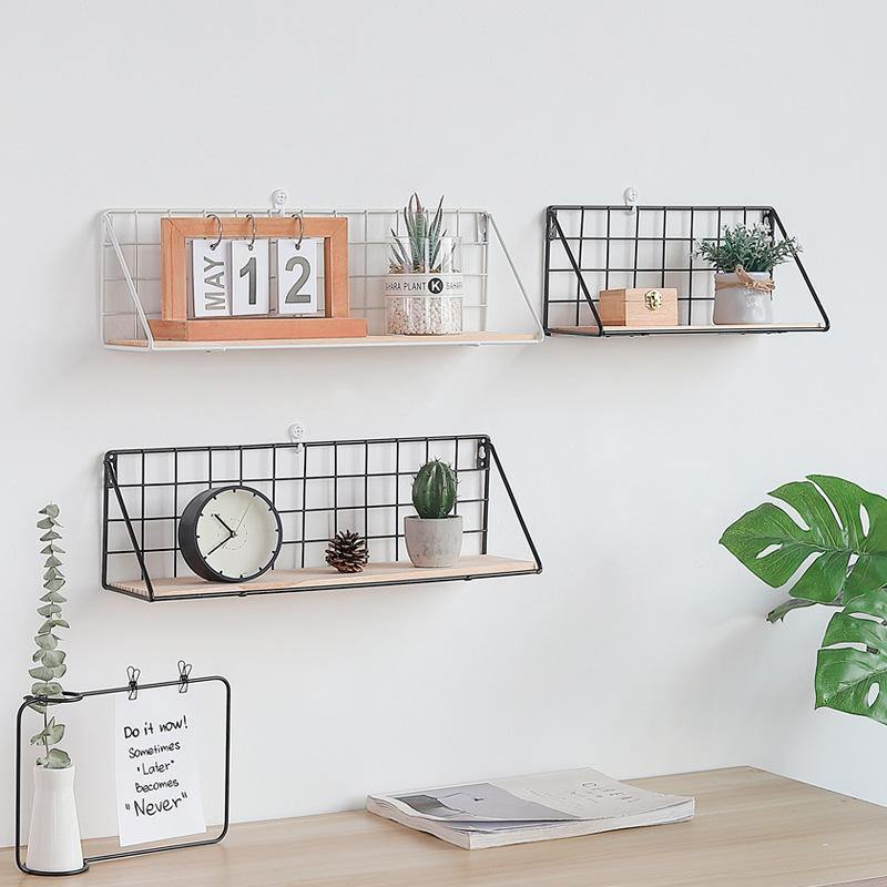 Scandi Metal Natural Wood Wall Shelf in Black