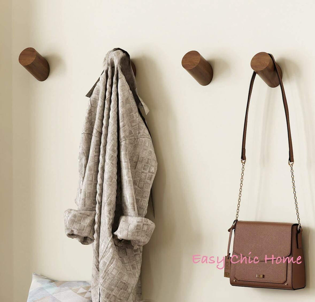 Solid Walnut Wooden Wall Hook Peg Hat Coat Hanger Hallway Home Storage Dark Brown - EasyChic Home
