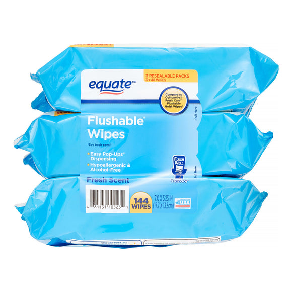 Flushable toilet Wipes  (3 pack x48)