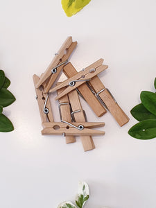 20 Bamboo Clothes Pegs