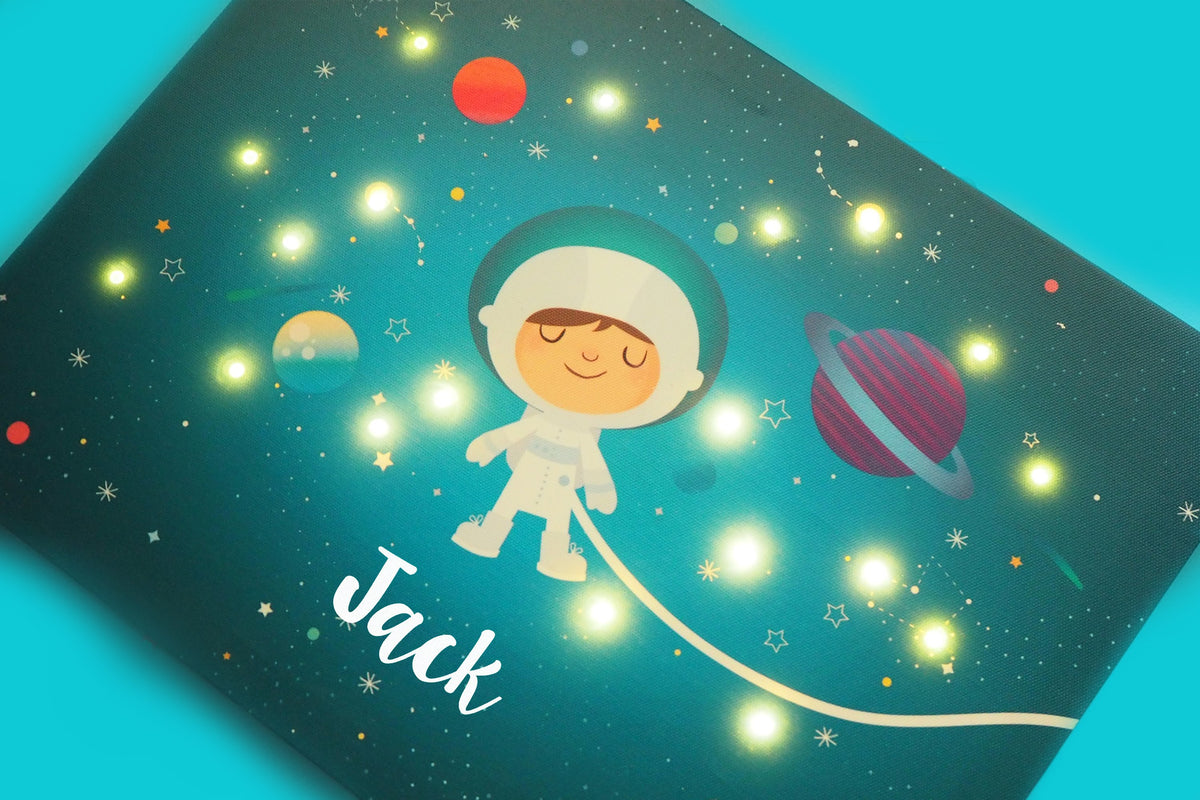 Ellybean Personalised Light Up Canvas, Personalised Products for Kids, Space themed Light Up Canvas, Stardust & Space Travels, Astronaut, Childs Name, Collection Image for Ellybean Personalised Light Up Canvas.