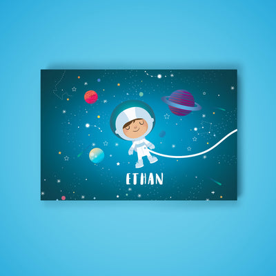 Ellybean Light Up Canvas, title Stardust & Space Travels, Astronaut, planets, 20 LED lights as stars, Battery Operated, Personalised with Name Below, Lights Off