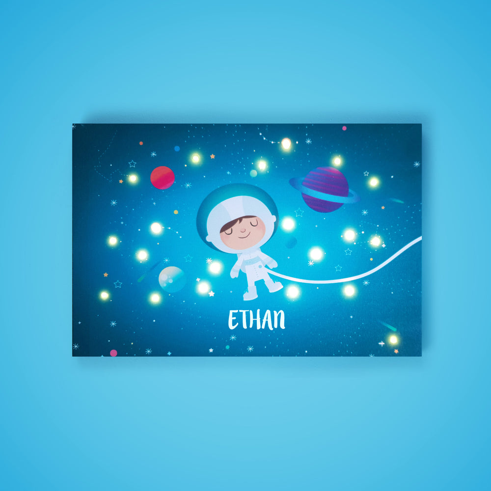 Ellybean Light Up Canvas, title Stardust & Space Travels, Astronaut, planets, 20 LED lights as stars, Battery Operated, Personalised with Name Below, Lights On