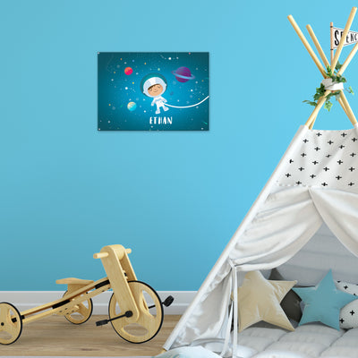 Ellybean Light Up Canvas, title Stardust & Space Travels, Astronaut, planets, 20 LED lights as stars, Battery Operated, Personalised with Name Below, Hanging on Wall, Kids Room Decor, Day, Lights Off