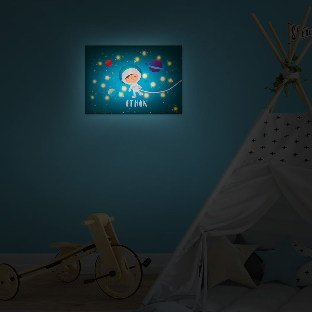 Ellybean Light Up Canvas, title Stardust & Space Travels, Astronaut, planets, 20 LED lights as stars, Battery Operated, Personalised with Name Below, Hanging on Wall, Kids Room Decor, Night, Lights On, illustrative image only