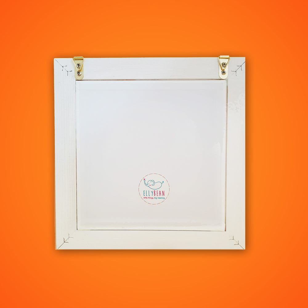 Personalised Pop Up Frame, White wooden frame, Back, Two Hooks for Hanging, Ellybean Sticker