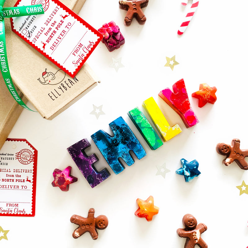 Christmas Gifts, Holiday Name Crayons, Stocking Stuffers, Rainbow Name Crayons, Christmas Shapes, Holiday Gifts