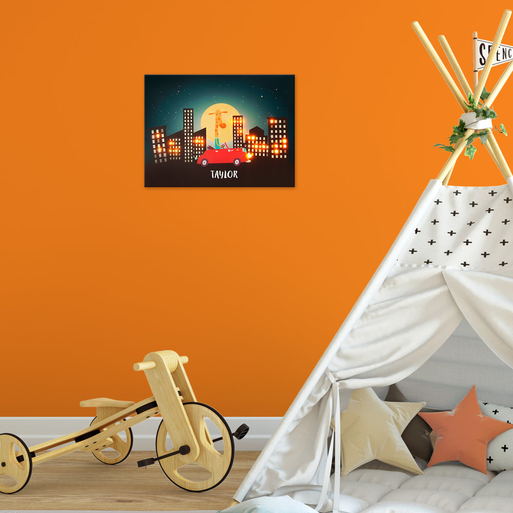 Ellybean Light Up Canvas, title Tall Wild & Free, Giraffe in Red Car, cityscape, 20 LED lights in windows, Battery Operated, Personalised with Name Below, Lights On, Hanging on Wall, Kids Room Decor, Day
