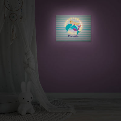 Ellybean Light Up Canvas, title Mermaid Tales & Glitter Waves, Mermaid & Dolphin, stripes, 20 LED lights, Battery Operated, Personalised with Name Below, Lights On, Hanging on Wall, Kids Room Decor, Night, Illustration only