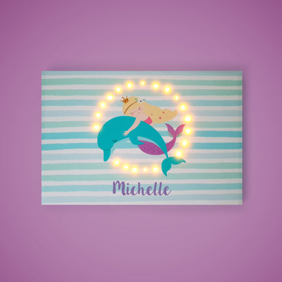 Ellybean Light Up Canvas, title Mermaid Tales & Glitter Waves, Mermaid & Dolphin, stripes, 20 LED lights, Battery Operated, Personalised with Name Below, Lights On