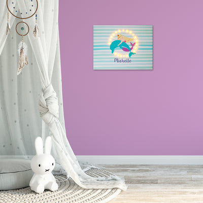 Ellybean Light Up Canvas, title Mermaid Tales & Glitter Waves, Mermaid & Dolphin, stripes, 20 LED lights, Battery Operated, Personalised with Name Below, Lights Off, Hanging on Wall, Kids Room Decor, Day