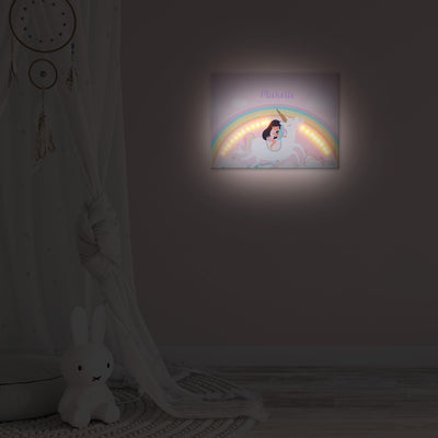 Ellybean Light Up Canvas, title Unicorns & Rainbows, Little Girl on Unicorn, Rainbows and clouds, 20 LED lights, Battery Operated, Personalised with Name Below, Lights On, Hanging on Wall, Kids Room Decor, Night, Illustration Only