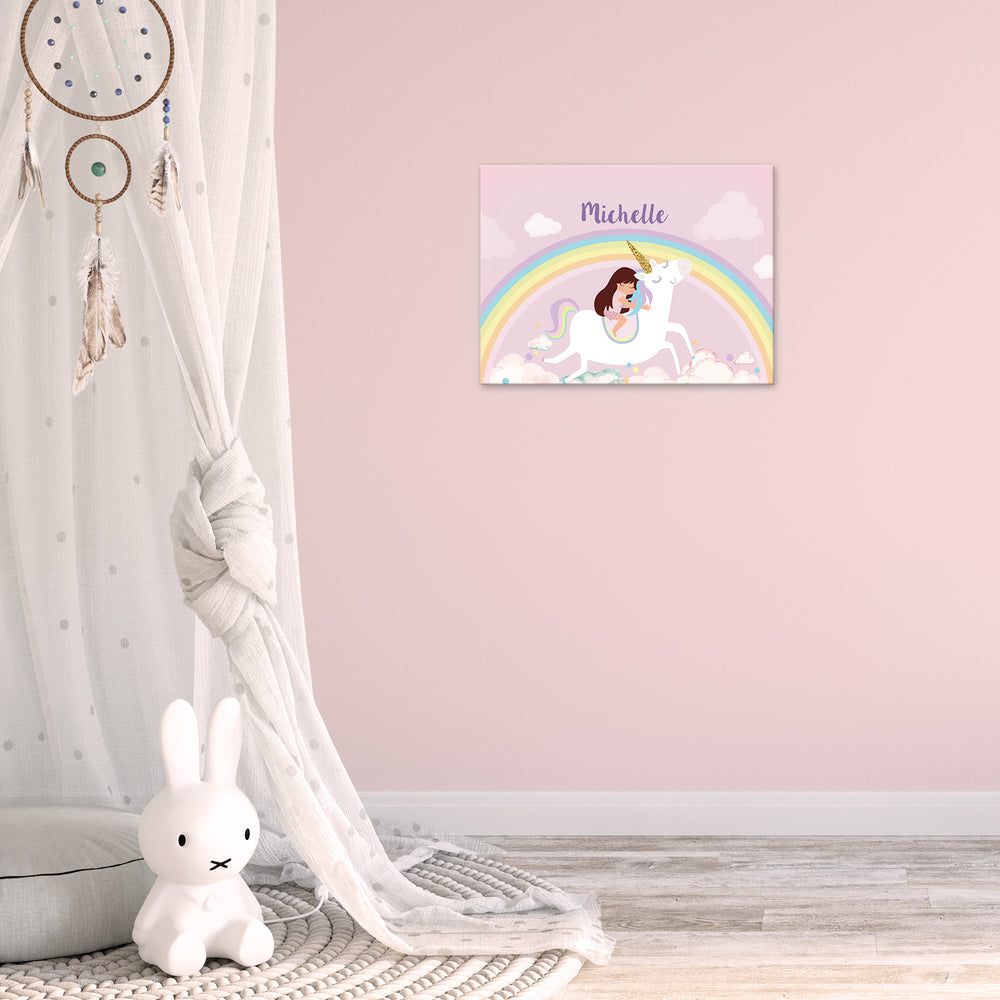 Ellybean Light Up Canvas, title Unicorns & Rainbows, Little Girl on Unicorn, Rainbows and clouds, 20 LED lights, Battery Operated, Personalised with Name Below, Lights Off, Hanging on Wall, Kids Room Decor, Day