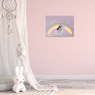 Ellybean Light Up Canvas, title Unicorns & Rainbows, Little Girl on Unicorn, Rainbows and clouds, 20 LED lights, Battery Operated, Personalised with Name Below, Lights On, Hanging on Wall, Kids Room Decor, Day