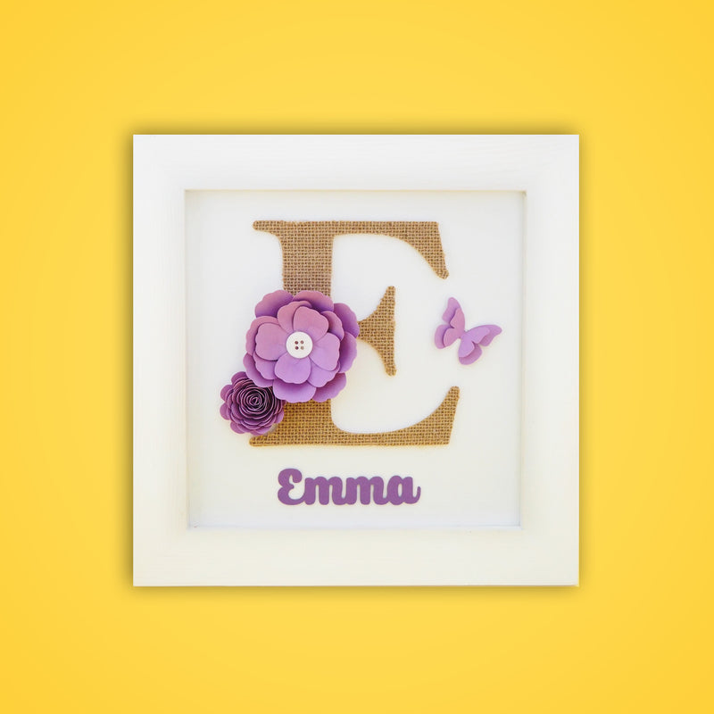 Ellybean Personalised Pop Up Frame, White wooden frame, big burlap personalised letter, lavender paper flowers and butterfly & gold name below.