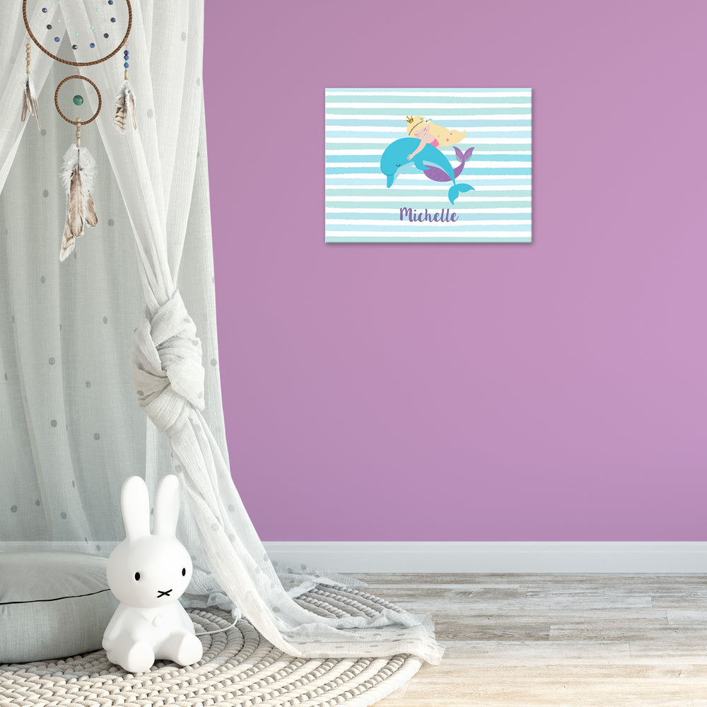 Ellybean Light Up Canvas, title Mermaid Tales & Glitter Waves, Mermaid & Dolphin, stripes, 20 LED lights, Battery Operated, Personalised with Name Below, Lights Off, Hanging on Wall, Kids Room Decor, Day, Lights Off
