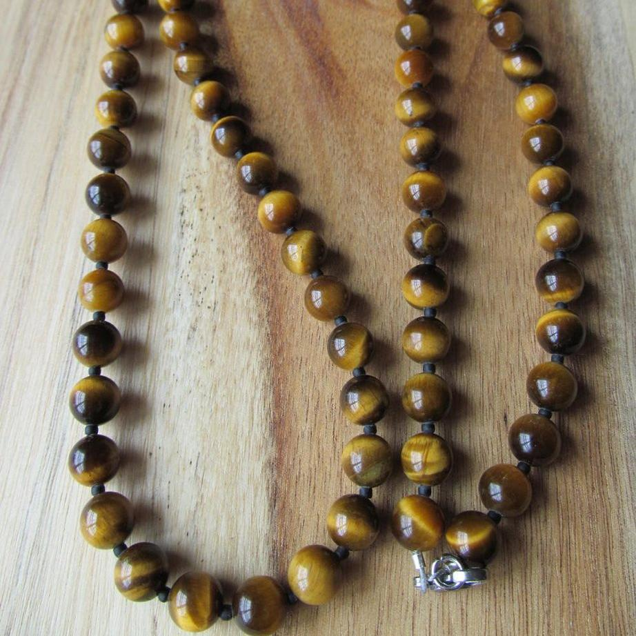 ef8d17fa0516f 8mm Tiger Eye Necklace, Long Men's Beaded Jewelry