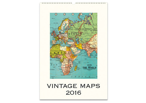 2016 Cavallini & Co Vintage Maps Wall Calendar