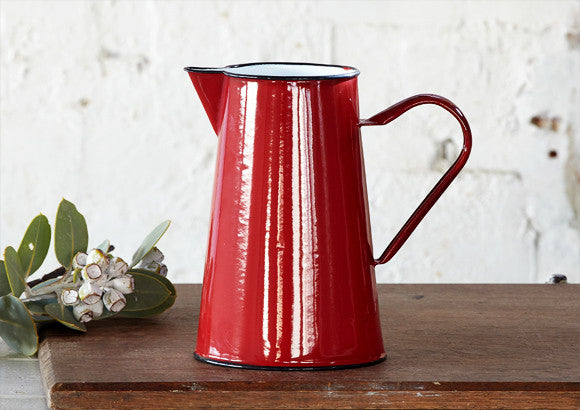 2Lt Enamel Jug Pitcher - Red