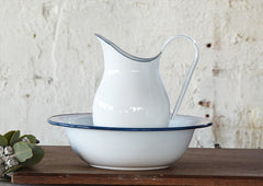 Enamel Wash Basin and Pitcher - White