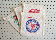 Feed Sack Pot Holders - Pack 4