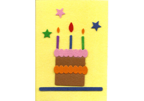 Fuzzy Felt Birthday Card - Birthday Cake