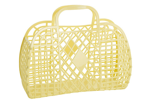 Sun Jellies Retro Basket Bag - Large Yellow