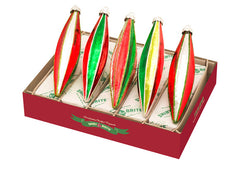 Shiny Brite Christmas Decorated Fluted Glass Tulips