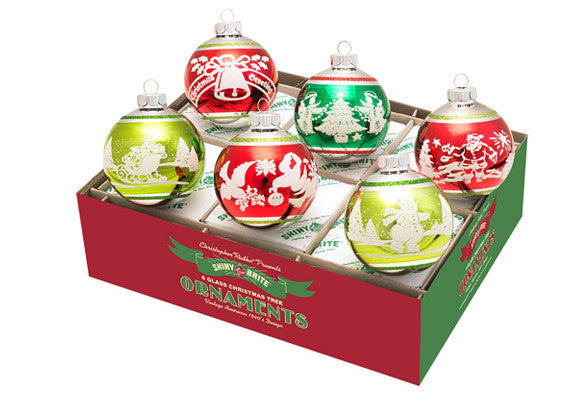 Shiny Brite Christmas Flocked Glass Baubles