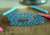 Vintage Happy Birthday Cake Decoration - Baby Blue