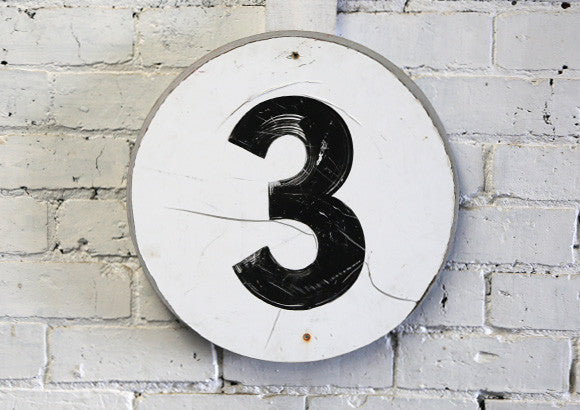 Vintage Metal Number 3 Sign
