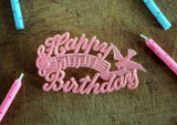 Vintage Happy Birthday Cake Decoration - Pink