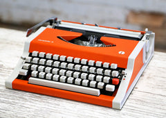 Vintage Typewriter - Orange Olympiette