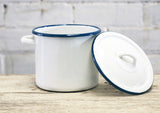 Enamel Pot With Lid - White