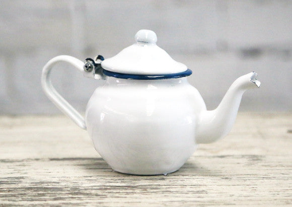 Enamel Tea Pot - Small White