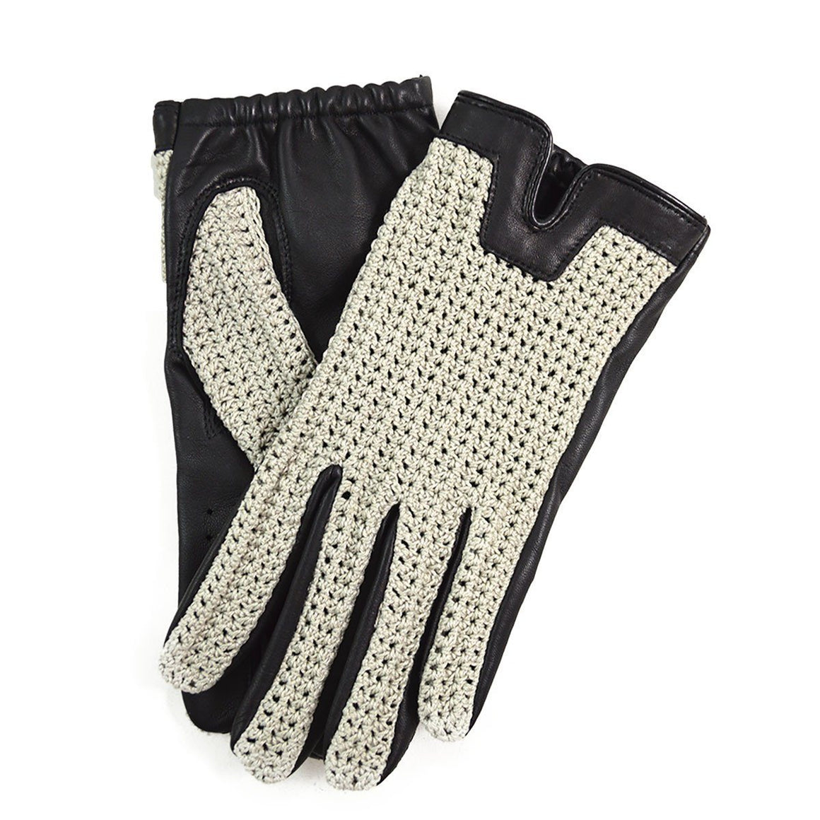 DENTS DONNINGTON Crochet and Leather Driving Gloves - Black