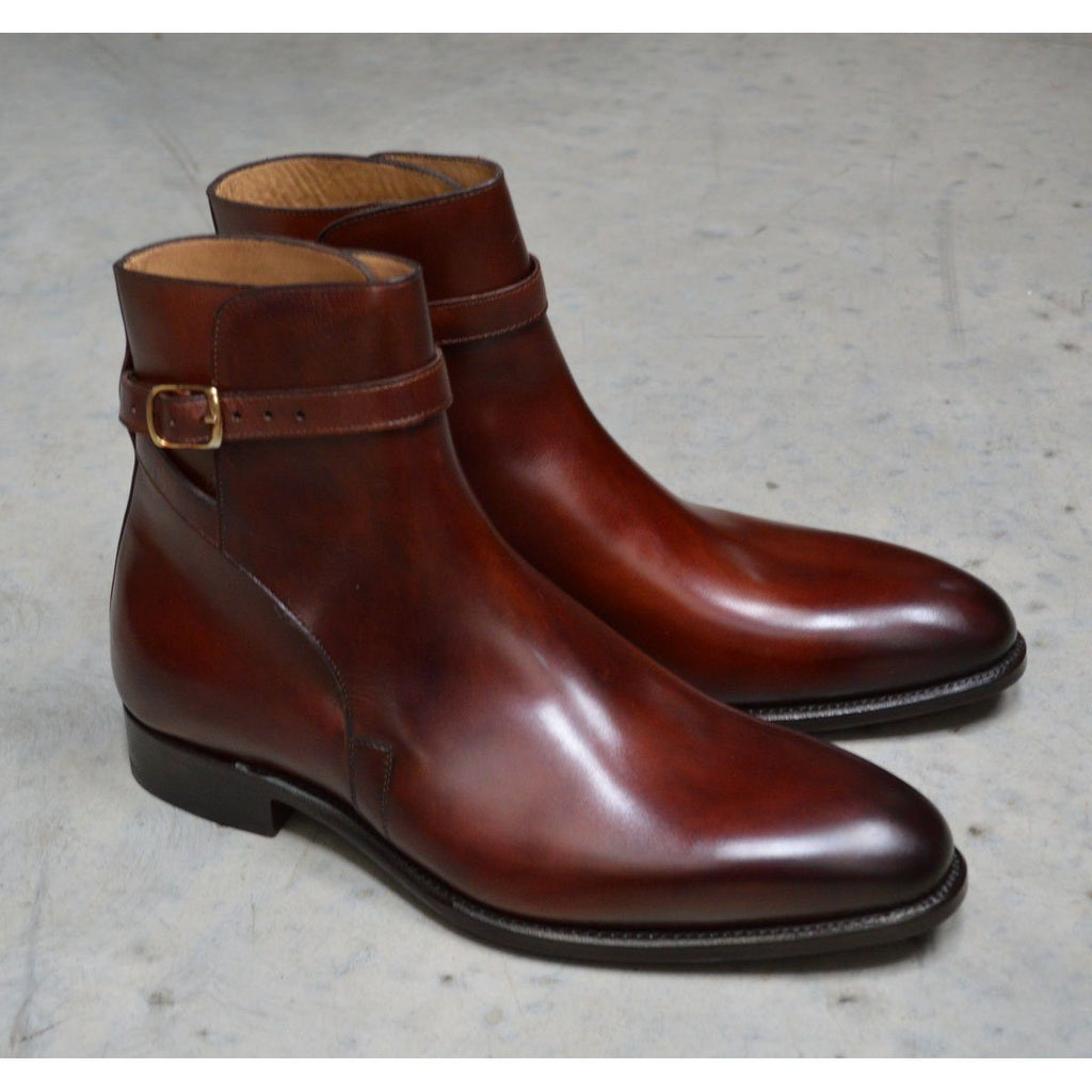 Carlos Santos Jodphur Boot in Wine Shadow Patina - 7F