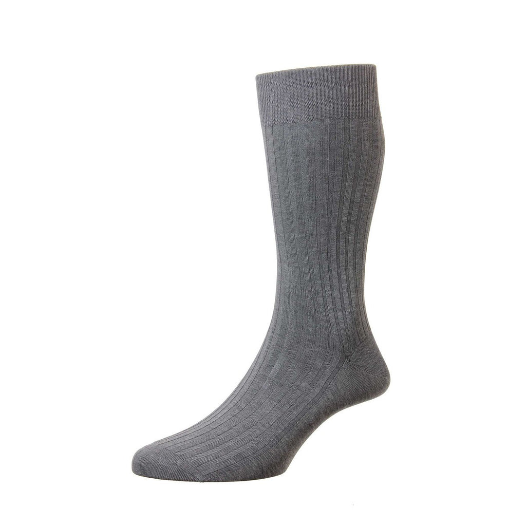 Pantherella Danvers Cotton Socks - Mid Grey