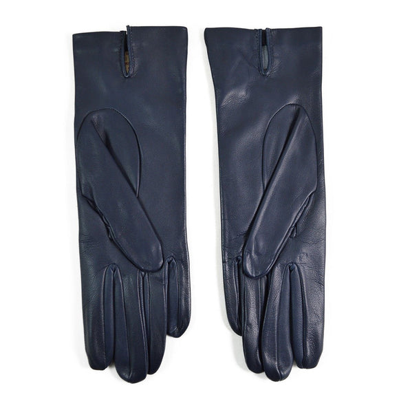 DENTS Womens FELICITY Silk Lined Leather Gloves - NAVY