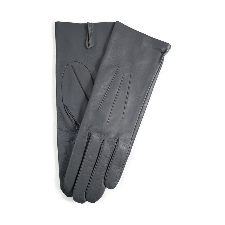 DENTS Womens FELICITY Silk Lined Leather Gloves - CHARCOAL