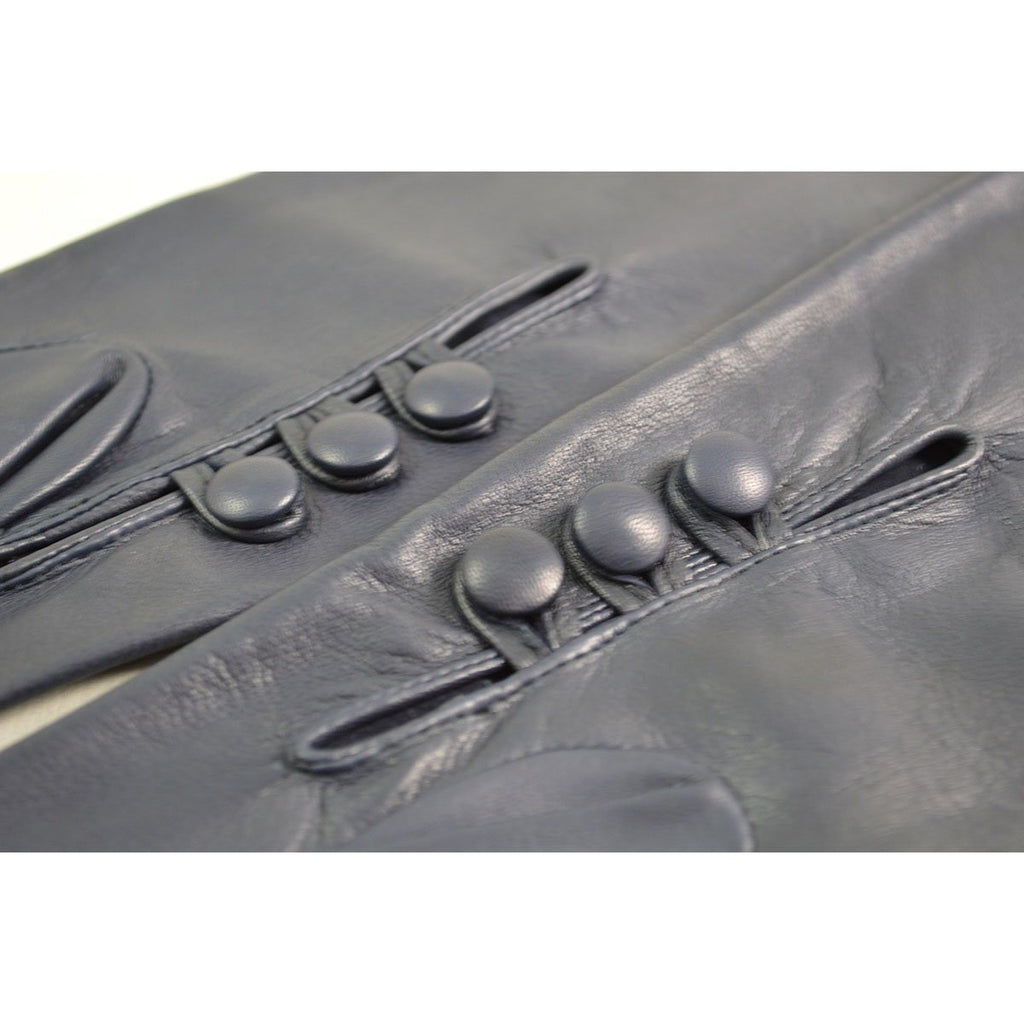DENTS Womens POLLY Long Unlined Leather Gloves - NAVY